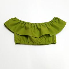 Green Off The Shoulder Crop Top - Tween Girls Midriff - Boho Ruffle Top