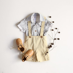 Boys Tan Linen Suspender Shorts - Page Boy Outfit - Cake Smash Romper