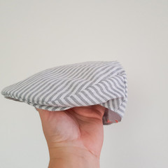 Grey Striped Linen Flat Cap - Toddler Boys Newsboy Hat - Stripe Linen Golf Cap