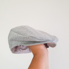 Toddler Boys Flat Cap - Woolen Newsboy Hat - Grey Wool Golf Cap