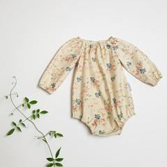 Ivory Floral Long Sleeve Peasant Romper - Baby Girl Playsuit - Toddler Onesie