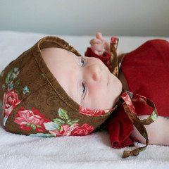 Bronze Floral Baby Bonnet - Toddler Hat - Christening Cap