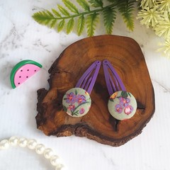Floral Covered Button Hair Clip - Green and Purple - Stylish Hair Accessories