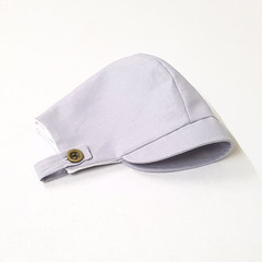 Grey Linen Baby Bonnet with button up chin strap - Unisex Toddler Hat