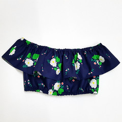 Navy Floral Ruffle Crop Top - Toddler Off Shoulder Top - Tween Girls Midriff