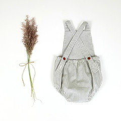 Grey Striped Linen Baby Romper - Baby Boy Coming Home Outfit - Boho Baby Onesie