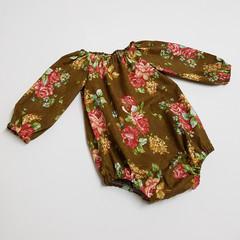 Long Sleeve Floral Peasant Romper - Baby Girl Playsuit, Brown Toddler Onesie