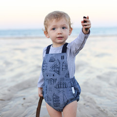 ONLY 1 LEFT - Nautical Baby Boy Romper - Toddler Ships and Boats Overalls