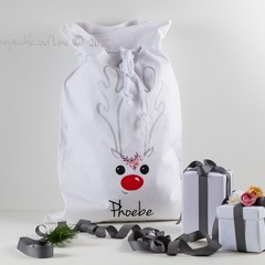 Santa Sack Reindeer Face, Red Nose - White with Flowers
