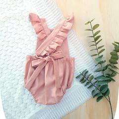 Blush Pink Linen Baby Girl Playsuit - Flutter Sleeve Toddler Romper