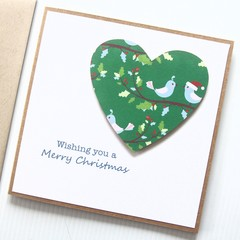 Festive Christmas Card, Handmade Christmas Card, Festive Green Heart Birds