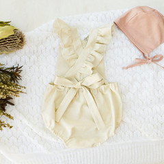 Ivory Cream Linen Romper - Flutter Sleeve Playsuit - Newborn Coming Home Outfit