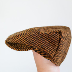 Toddler Boys Flat Cap - Woolen Newsboy Hat - Brown Wool Golf Hat - Photo Prop
