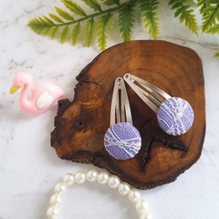 Silk and Lace Covered Button Hair Clip in Lavender and White - Gift for Girl