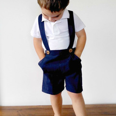 Boys Navy Blue Linen Pants with Suspenders - Toddler Shorts with Braces