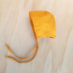 Mustard Baby Bonnet - Unisex Toddler Hat - Christening Cap
