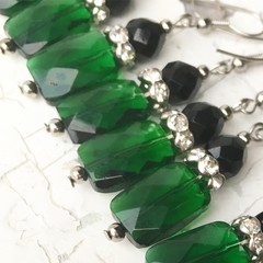 Stunning Emerald Green Cut Glass Pillow Black Czech Crystal Diamante Earrings