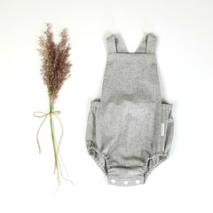 Grey Chambray Linen Baby Romper - Toddler Boys Boho Playsuit