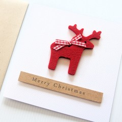 Felt Reindeer Christmas Card, Handmade Luxury Christmas Card, Merry Christmas
