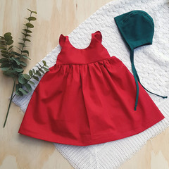 Girls Sizes - Crimson Red Flutter Sleeve Dress - Boho Christmas Outfit