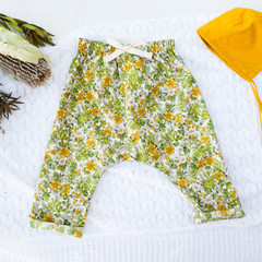 Girls Floral Harem Pants - Kids Loose Fitting Linen Pants - Toddler Leggings