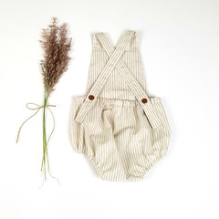 Natural and Cream Striped Linen Baby Romper - Baby Boy Boho Playsuit