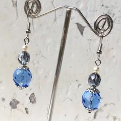 Stunning Light Sapphire Blue Czech Crystal Glass Faux Pearl Earrings