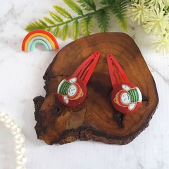 Covered Button Hair Clip with Snowman, Red and Gold - Christmas Hair Clip