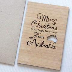 Merry Christmas From Australia Card, Bamboo Card, Australian Made Gift Souvenir