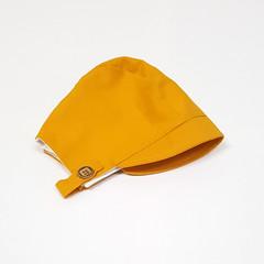 Mustard Baby Bonnet with button up chin strap - Saffron Unisex Toddler Hat