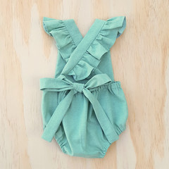 Mint Baby Girl Playsuit - Toddler Flutter Sleeve Boho Romper - Cake Smash Outfit