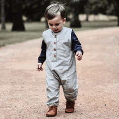 Button Up Baby Romper - Grey Linen Henley Romper - Toddler Overalls
