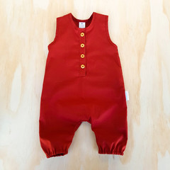 Crimson Red Button Up Baby Romper - Toddler Overalls - Boys Christmas Outfit