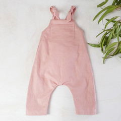 Blush Pink Linen Kids Overalls - Baby Girls Playsuit - Toddler Jumpsuit