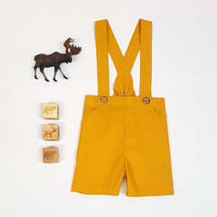 Mustard Boys Pants with Suspenders -  Page Boy Outfit - Shorts with Braces