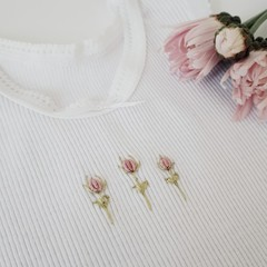 Hand-Embroidered Rosebud Baby Singlet - Baby Clothes