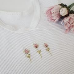 Hand-Embroidered Rosebud Baby Singlet Baby Shower Gift Newborn Baby Girl