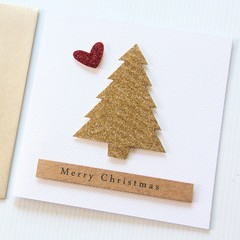 4 Gold Glitter Christmas Tree cards