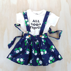 Girls Navy Floral Suspender Skirt - Toddler Pinafore Dress