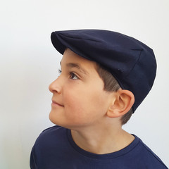 Toddler Boys Linen Flat Cap - Navy Blue Newsboy Hat - Baby Photo Prop