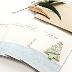 4 Australia Christmas Cards, Map Christmas Tree Card, Australia Souvenir