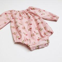 Pink Floral Long Sleeve Peasant Romper - Baby Girl Playsuit - Toddler Onesie