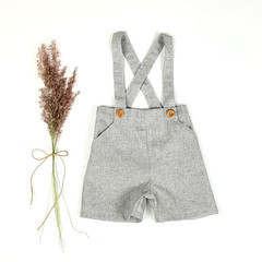 Boys Charcoal Chambray Linen Suspender Shorts - Page Boy Outfit