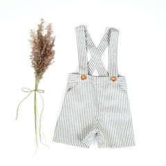 Boys Grey Striped Linen Suspender Shorts - Page Boy Pants - Cake Smash Outfit