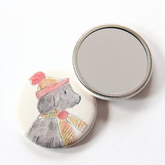Pocket Mirror Carol the Dog + Junior Artist Design