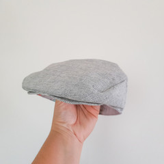 Toddler Boys Flat Cap - Grey Linen Newsboy Hat - Newborn Baby Bonnet