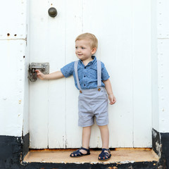 Grey Linen Page Boy Outfit - Boys Suspender Shorts - Newborn Photo Shoot Outfit