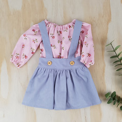 Girls Grey Linen Suspender Skirt - Toddler Pinafore Skirt