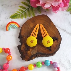 Covered Button Hair Clip with Star in Yellow and Orange - Girls Hair Snap Clips