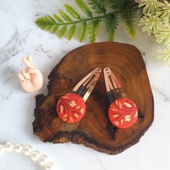 Floral Covered Button Hair Clip - Orange and Metallic Rose Gold